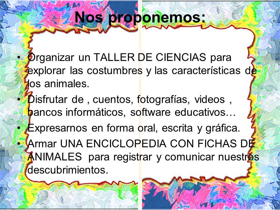 Organizar un TALLER DE CIENCIAS para explorar las costumbres y las características de los animales. Disfrutar de, cuentos, fotografías, videos, bancos