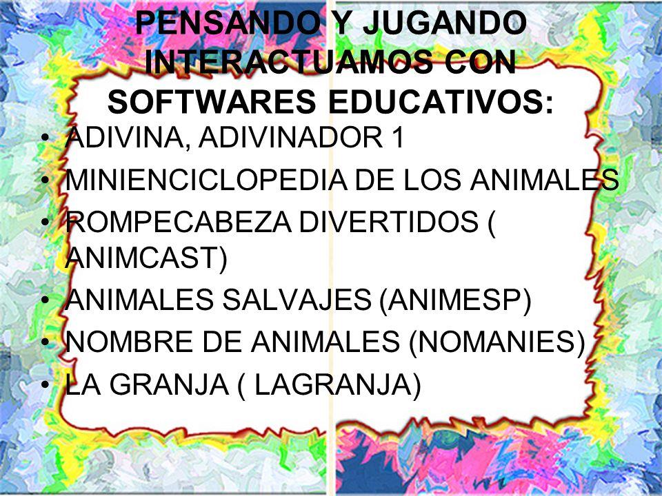 PENSANDO Y JUGANDO INTERACTUAMOS CON SOFTWARES EDUCATIVOS: ADIVINA, ADIVINADOR 1 MINIENCICLOPEDIA DE LOS ANIMALES ROMPECABEZA DIVERTIDOS ( ANIMCAST) A