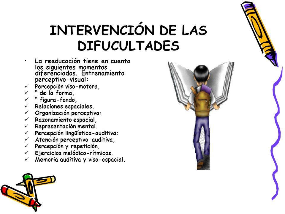 INTERVENCIÓN DE LAS DIFUCULTADES La reeducación tiene en cuenta los siguientes momentos diferenciados. Entrenamiento perceptivo-visual: Percepción vis