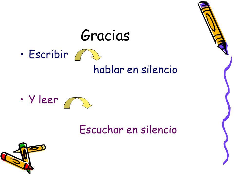 Gracias Escribir hablar en silencio Y leer Escuchar en silencio