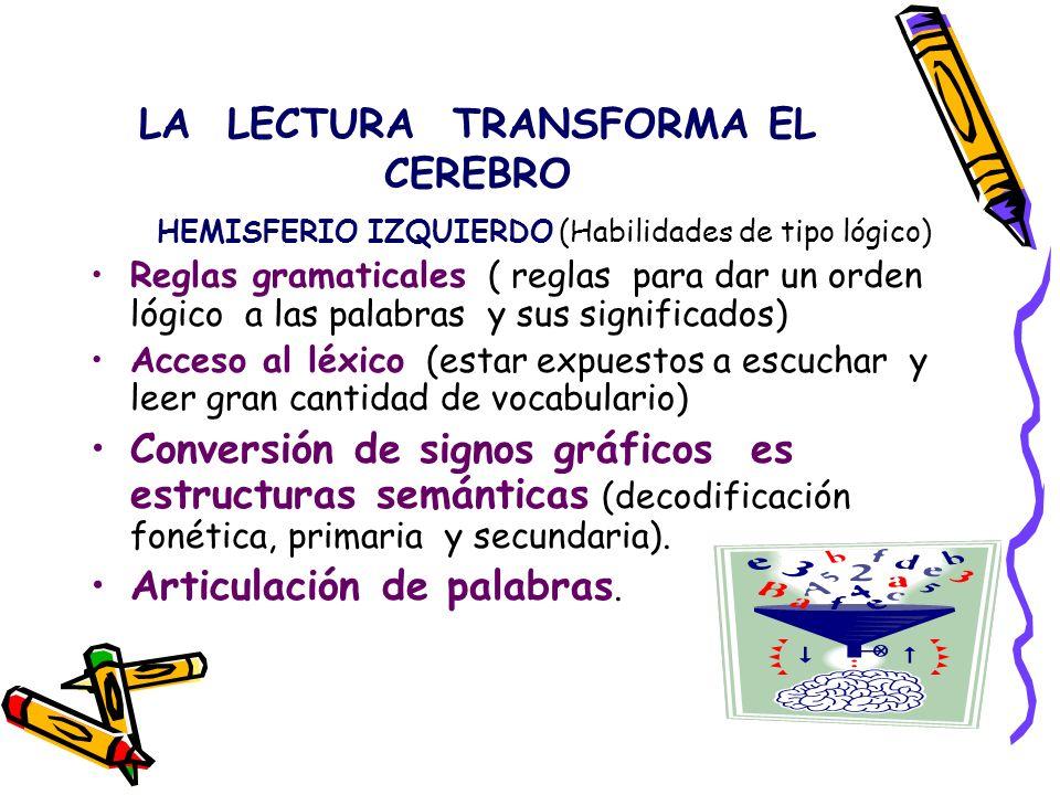 LA LECTURA TRANSFORMA EL CEREBRO HEMISFERIO IZQUIERDO (Habilidades de tipo lógico) Reglas gramaticales ( reglas para dar un orden lógico a las palabra