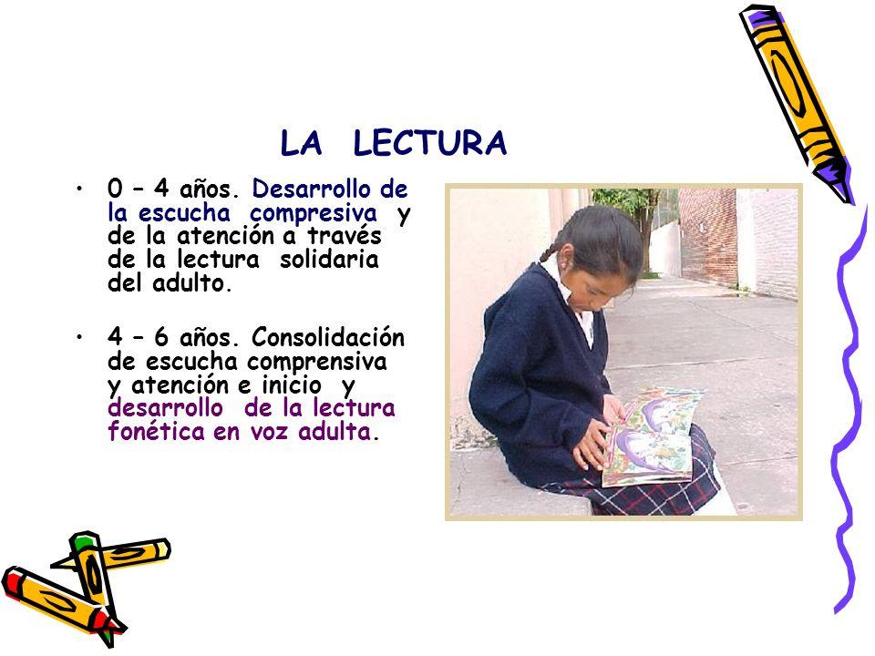 LA LECTURA 0 – 4 años. Desarrollo de la escucha compresiva y de la atención a través de la lectura solidaria del adulto. 4 – 6 años. Consolidación de