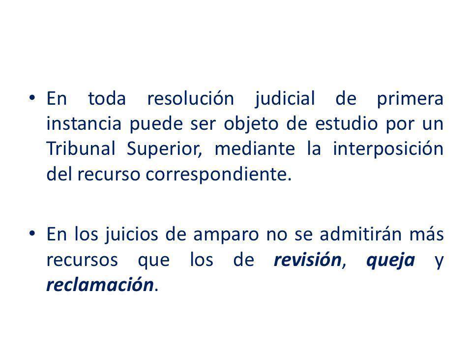 En toda resolución judicial de primera instancia puede ser objeto de estudio por un Tribunal Superior, mediante la interposición del recurso correspon
