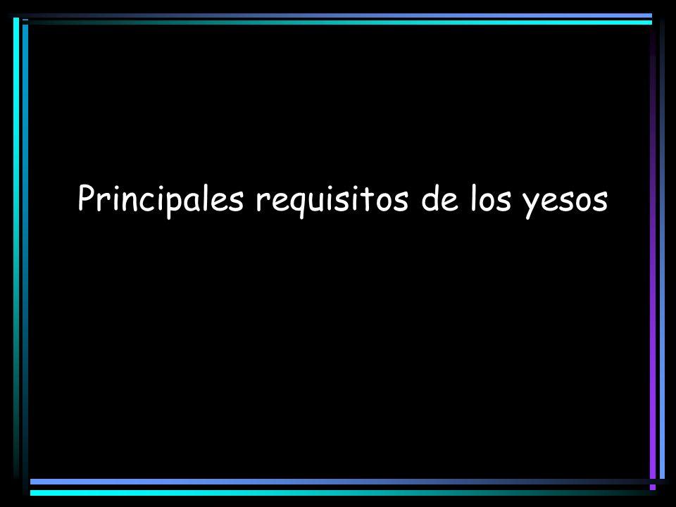 Principales requisitos de los yesos