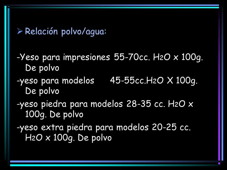 Relación polvo/agua: -Yeso para impresiones 55-70cc. H 2 O x 100g. De polvo -yeso para modelos 45-55cc.H 2 O X 100g. De polvo -yeso piedra para modelo