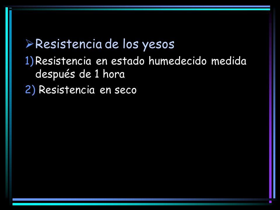 Resistencia de los yesos 1)Resistencia en estado humedecido medida después de 1 hora 2) Resistencia en seco