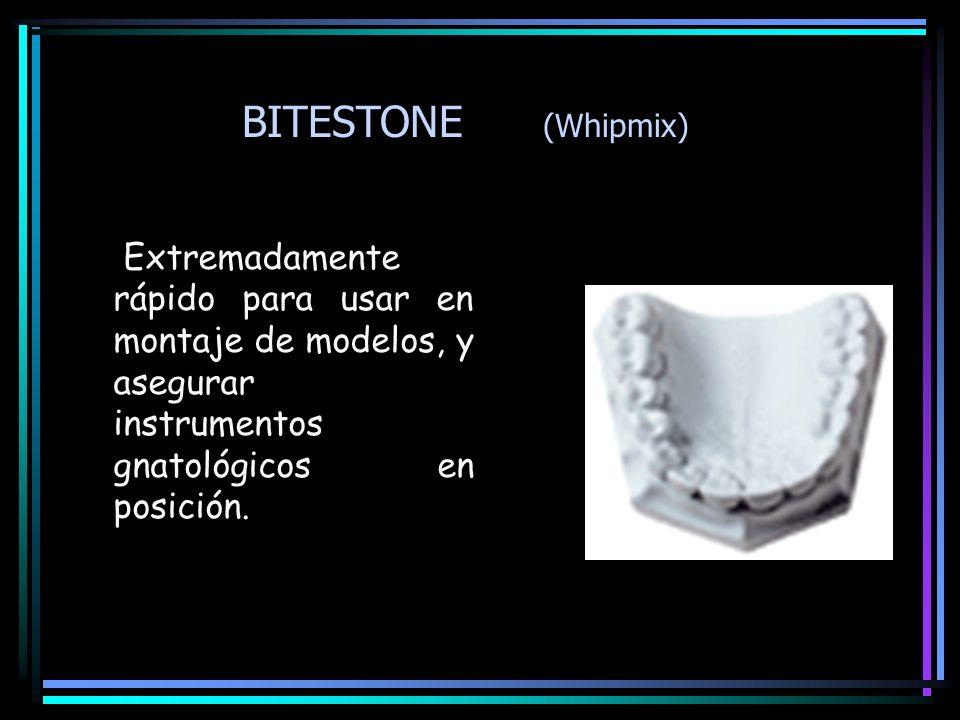 BITESTONE (Whipmix) Extremadamente rápido para usar en montaje de modelos, y asegurar instrumentos gnatológicos en posición.