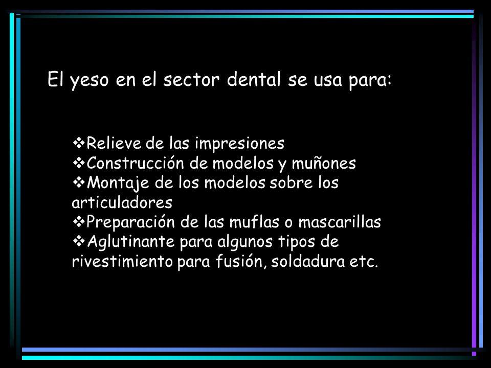El yeso en el sector dental se usa para: Relieve de las impresiones Construcción de modelos y muñones Montaje de los modelos sobre los articuladores P