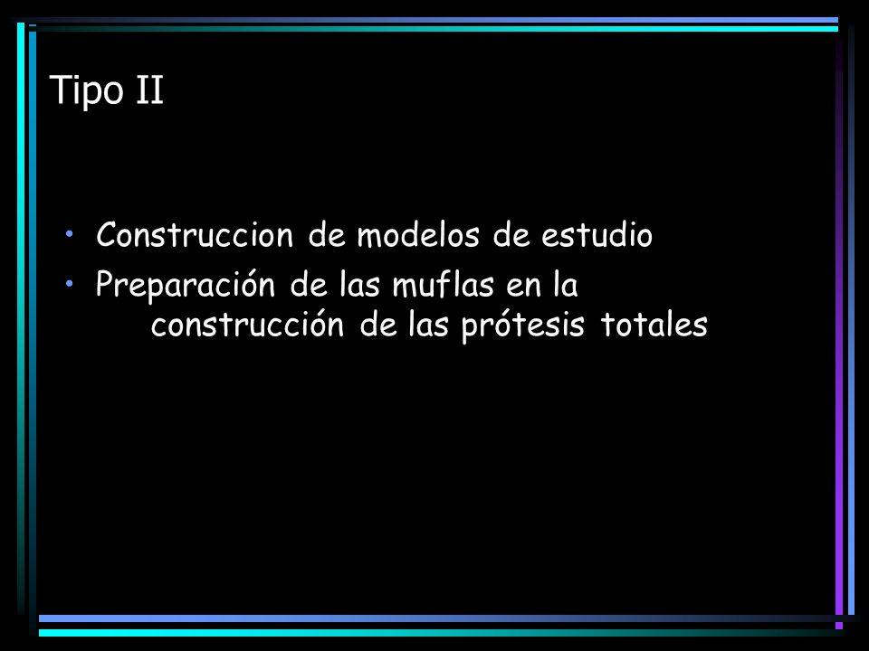 Tipo II Construccion de modelos de estudio Preparación de las muflas en la construcción de las prótesis totales