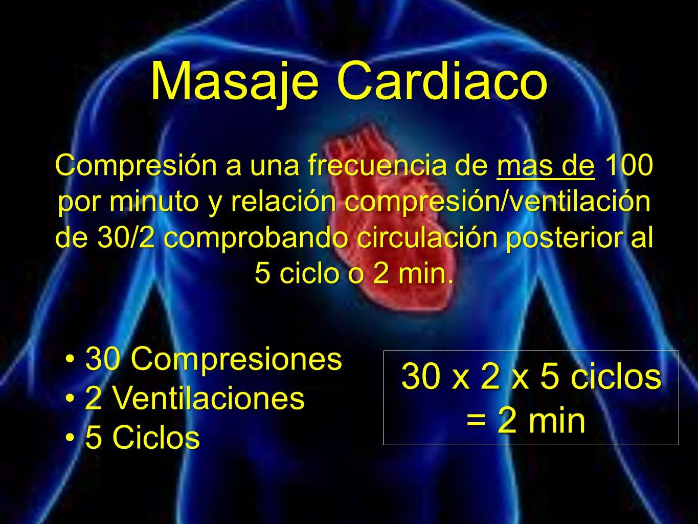 Masaje Cardiaco Compresión a una frecuencia de mas de 100 por minuto y relación compresión/ventilación de 30/2 comprobando circulación posterior al 5