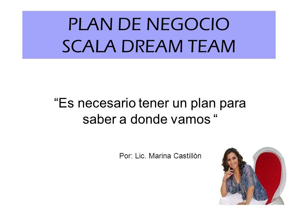 PLAN DE NEGOCIO SCALA DREAM TEAM Es necesario tener un plan para saber a donde vamos Por: Lic. Marina Castillòn