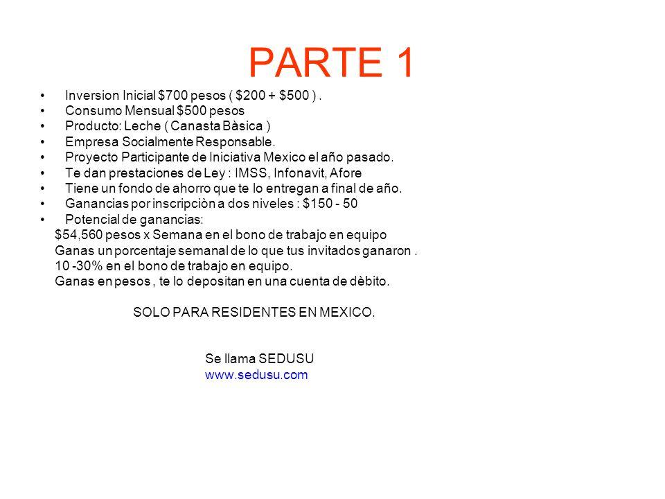 PARTE 1 Inversion Inicial $700 pesos ( $200 + $500 ). Consumo Mensual $500 pesos Producto: Leche ( Canasta Bàsica ) Empresa Socialmente Responsable. P