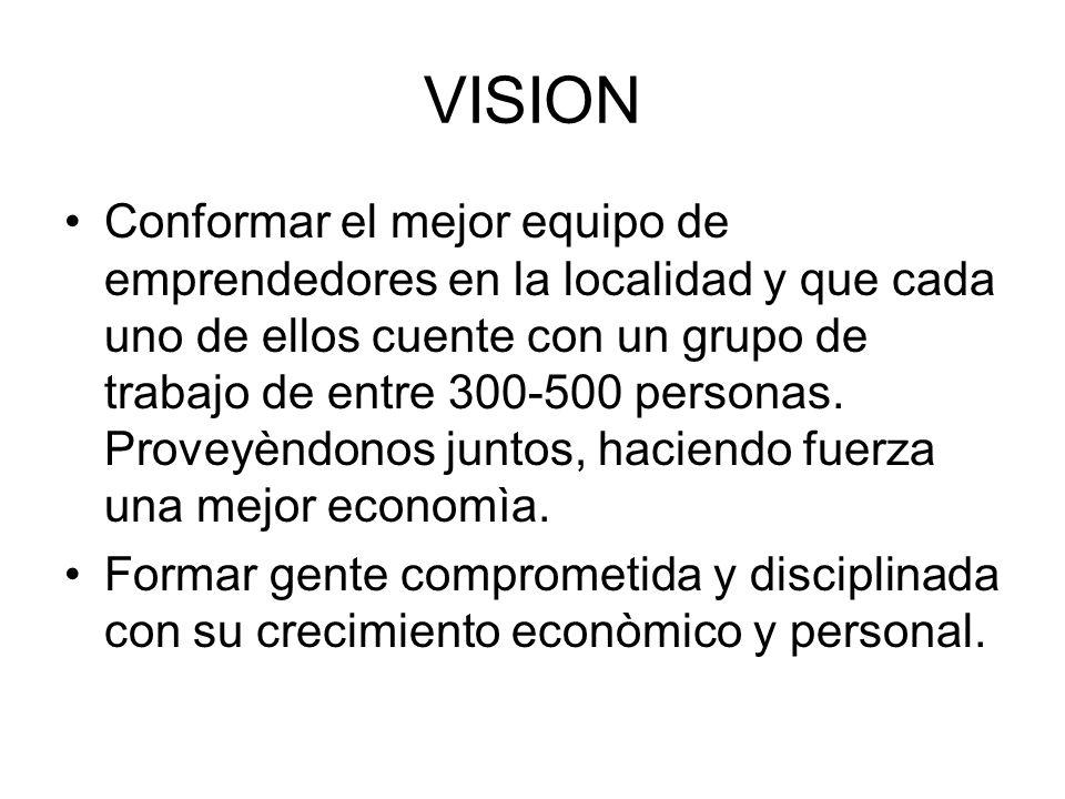VISION Conformar el mejor equipo de emprendedores en la localidad y que cada uno de ellos cuente con un grupo de trabajo de entre 300-500 personas. Pr