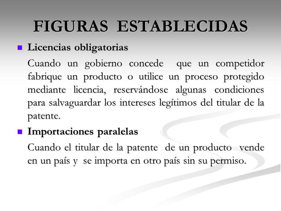 FIGURAS ESTABLECIDAS Licencias obligatorias Licencias obligatorias Cuando un gobierno concede que un competidor fabrique un producto o utilice un proc