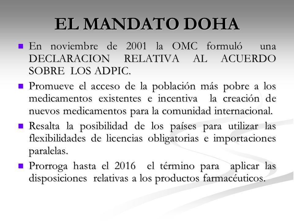 EL MANDATO DOHA En noviembre de 2001 la OMC formuló una DECLARACION RELATIVA AL ACUERDO SOBRE LOS ADPIC. En noviembre de 2001 la OMC formuló una DECLA