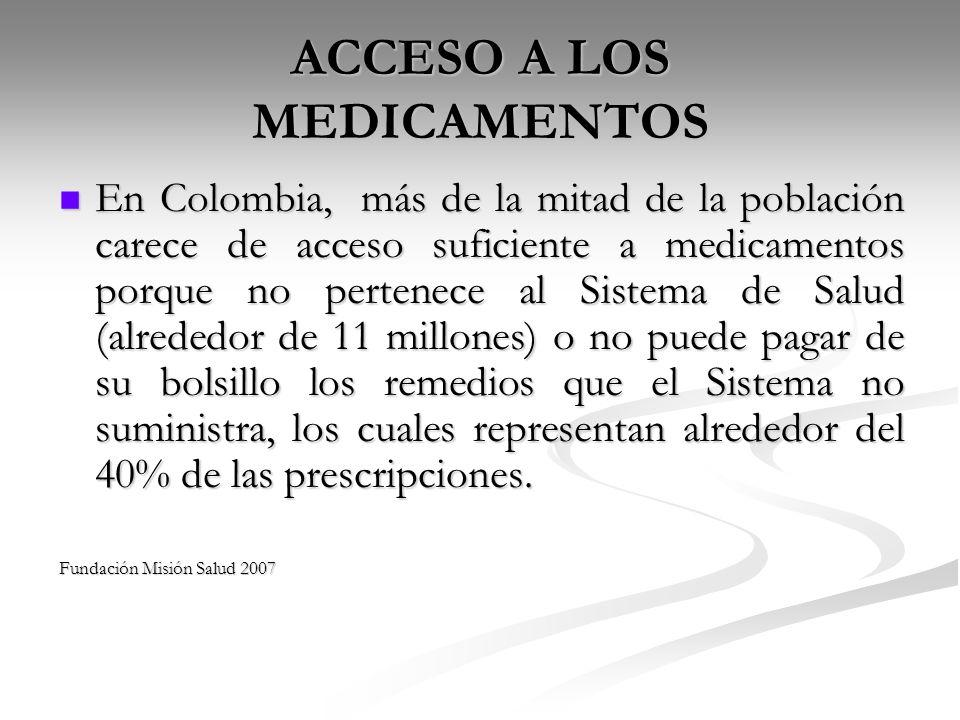 ACCESO A LOS MEDICAMENTOS En Colombia, más de la mitad de la población carece de acceso suficiente a medicamentos porque no pertenece al Sistema de Sa