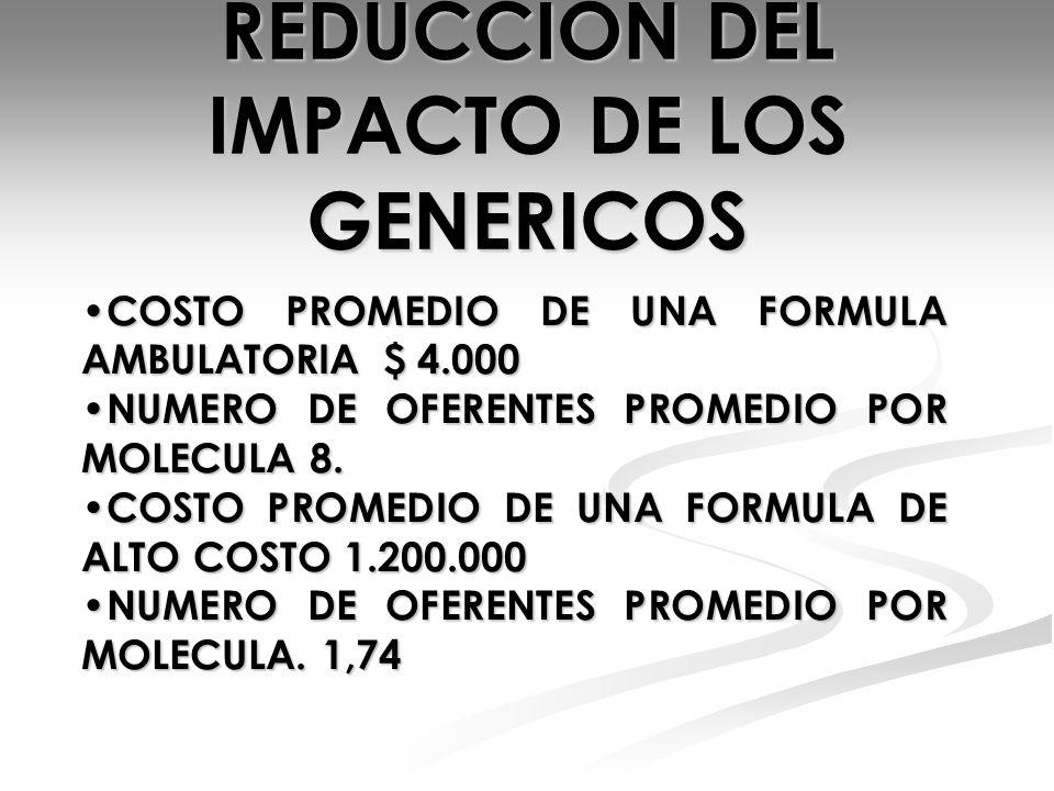 REDUCCION DEL IMPACTO DE LOS GENERICOS COSTO PROMEDIO DE UNA FORMULA AMBULATORIA $ 4.000 COSTO PROMEDIO DE UNA FORMULA AMBULATORIA $ 4.000 NUMERO DE O