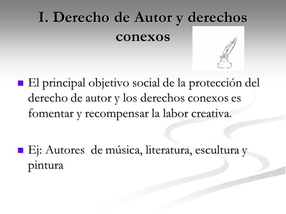 I. Derecho de Autor y derechos conexos El principal objetivo social de la protección del derecho de autor y los derechos conexos es fomentar y recompe