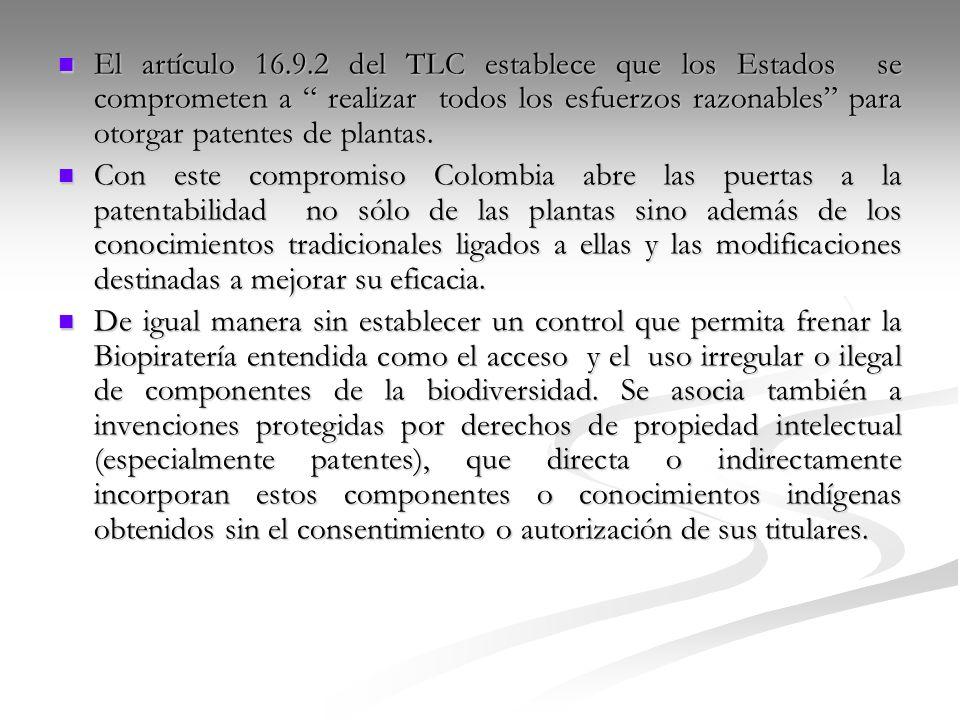 El artículo 16.9.2 del TLC establece que los Estados se comprometen a realizar todos los esfuerzos razonables para otorgar patentes de plantas. El art