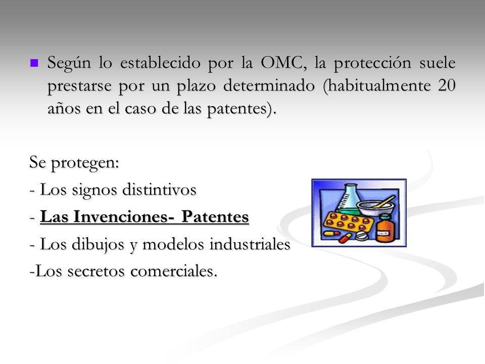 Según lo establecido por la OMC, la protección suele prestarse por un plazo determinado (habitualmente 20 años en el caso de las patentes). Según lo e