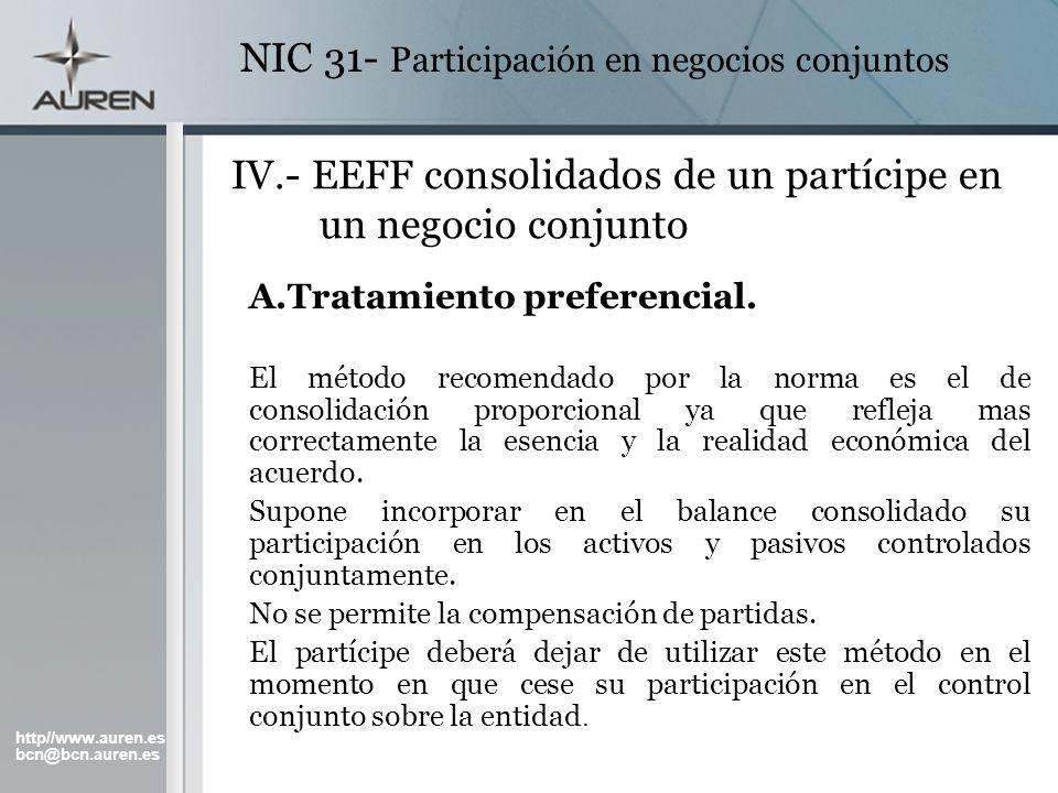 http//www.auren.es bcn@bcn.auren.es NIC 31- Participación en negocios conjuntos IV.- EEFF consolidados de un partícipe en un negocio conjunto A.Tratam