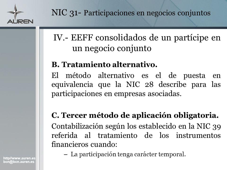 http//www.auren.es bcn@bcn.auren.es NIC 31- Participaciones en negocios conjuntos IV.- EEFF consolidados de un partícipe en un negocio conjunto B. Tra