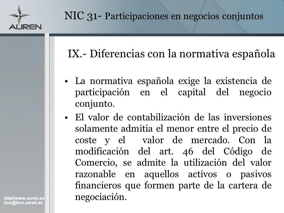 http//www.auren.es bcn@bcn.auren.es NIC 31- Participaciones en negocios conjuntos IX.- Diferencias con la normativa española La normativa española exi