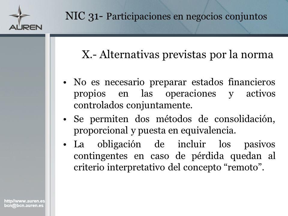http//www.auren.es bcn@bcn.auren.es NIC 31- Participaciones en negocios conjuntos X.- Alternativas previstas por la norma No es necesario preparar est
