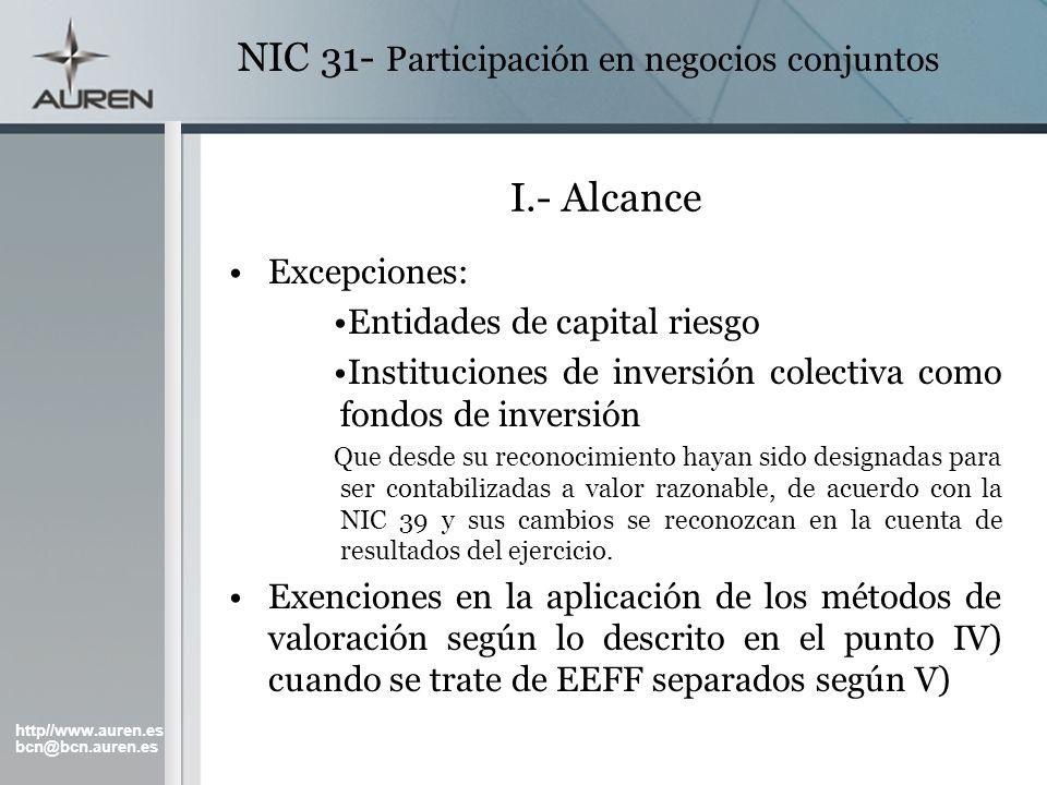http//www.auren.es bcn@bcn.auren.es NIC 31- Participación en negocios conjuntos II.- Definiciones Consolidación proporcional: Método de contabilización en el que cada partícipe incluye su porción de activos, pasivos, ingresos y gastos.