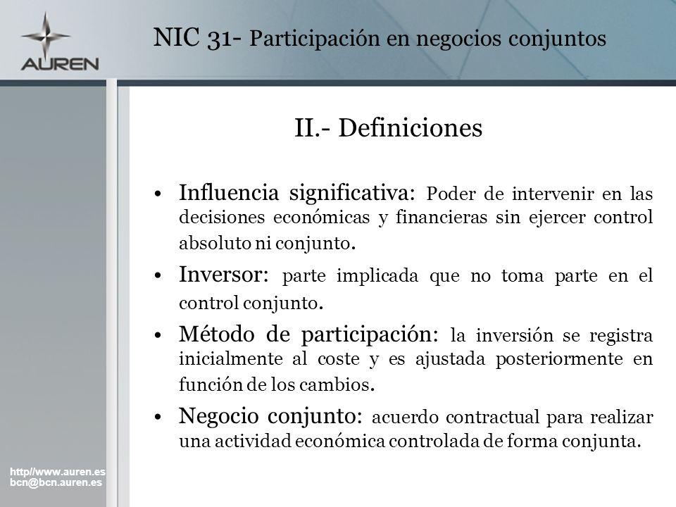 http//www.auren.es bcn@bcn.auren.es NIC 31- Participación en negocios conjuntos II.- Definiciones Influencia significativa: Poder de intervenir en las