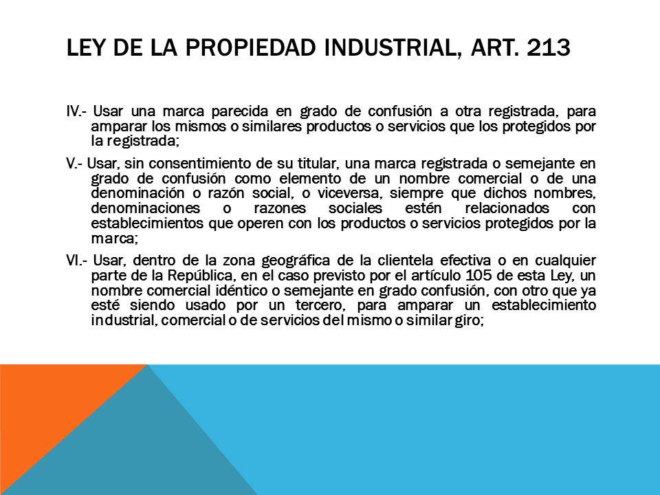 LEY DE LA PROPIEDAD INDUSTRIAL, ART. 213 IV.- Usar una marca parecida en grado de confusión a otra registrada, para amparar los mismos o similares pro