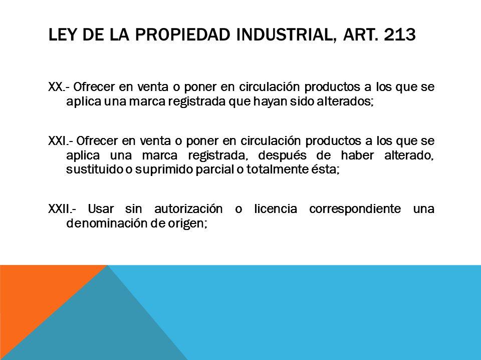 LEY DE LA PROPIEDAD INDUSTRIAL, ART. 213 XX.- Ofrecer en venta o poner en circulación productos a los que se aplica una marca registrada que hayan sid