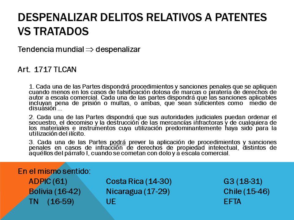 DESPENALIZAR DELITOS RELATIVOS A PATENTES VS TRATADOS Tendencia mundial despenalizar Art. 1717 TLCAN 1. Cada una de las Partes dispondrá procedimiento