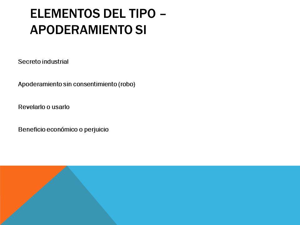 ELEMENTOS DEL TIPO – APODERAMIENTO SI Secreto industrial Apoderamiento sin consentimiento (robo) Revelarlo o usarlo Beneficio económico o perjuicio