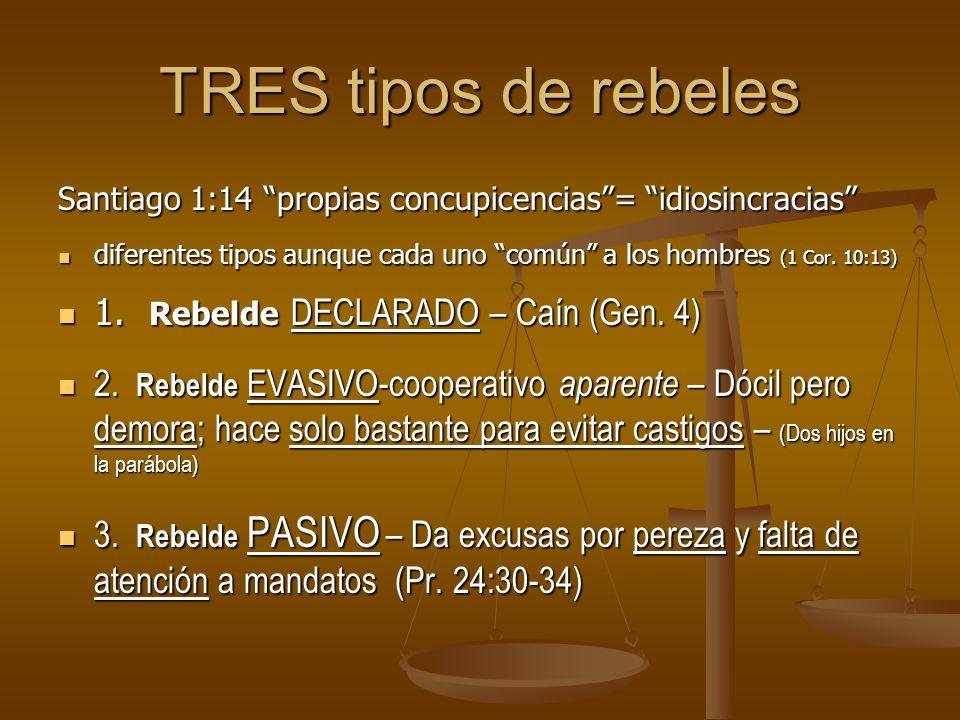 TRES tipos de rebeles Santiago 1:14 propias concupicencias= idiosincracias diferentes tipos aunque cada uno común a los hombres (1 Cor.