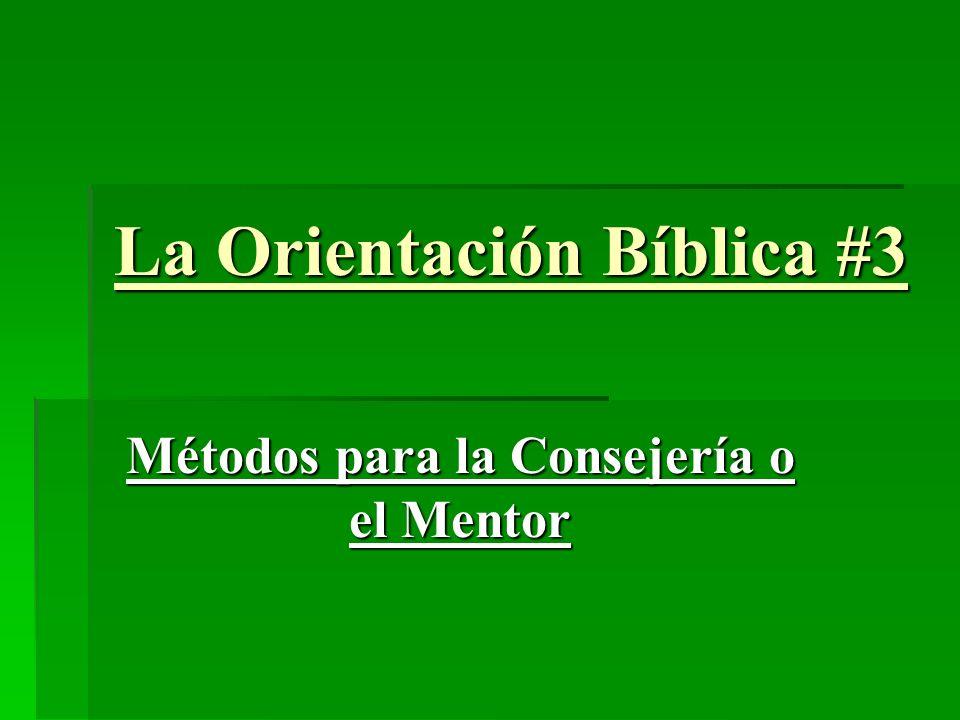La Orientación Bíblica #3 Métodos para la Consejería o el Mentor