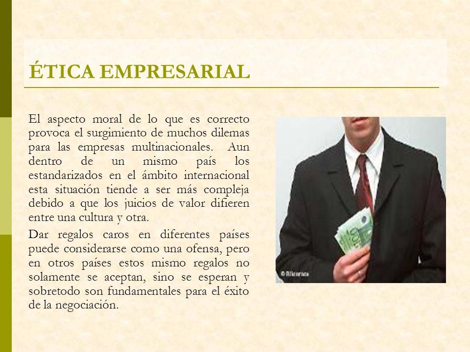 ÉTICA EMPRESARIAL El aspecto moral de lo que es correcto provoca el surgimiento de muchos dilemas para las empresas multinacionales. Aun dentro de un