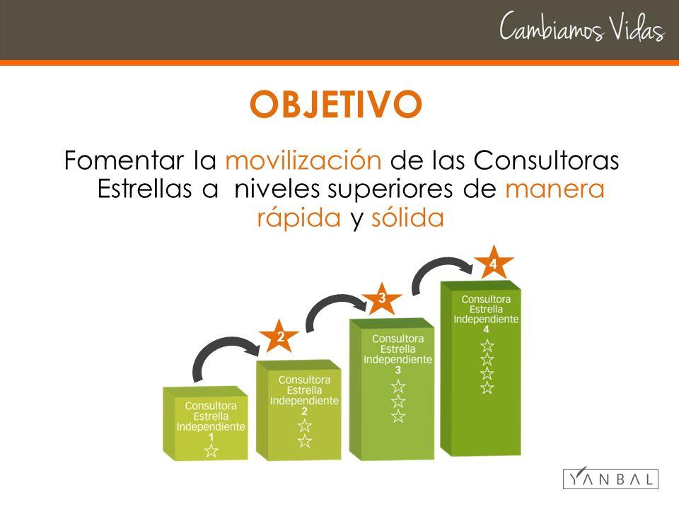 OBJETIVO Fomentar la movilización de las Consultoras Estrellas a niveles superiores de manera rápida y sólida 2 3 4