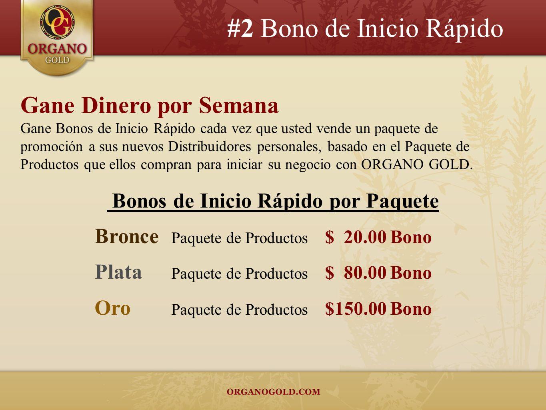 #2 Bono de Inicio Rápido Gane Dinero por Semana Gane Bonos de Inicio Rápido cada vez que usted vende un paquete de promoción a sus nuevos Distribuidor