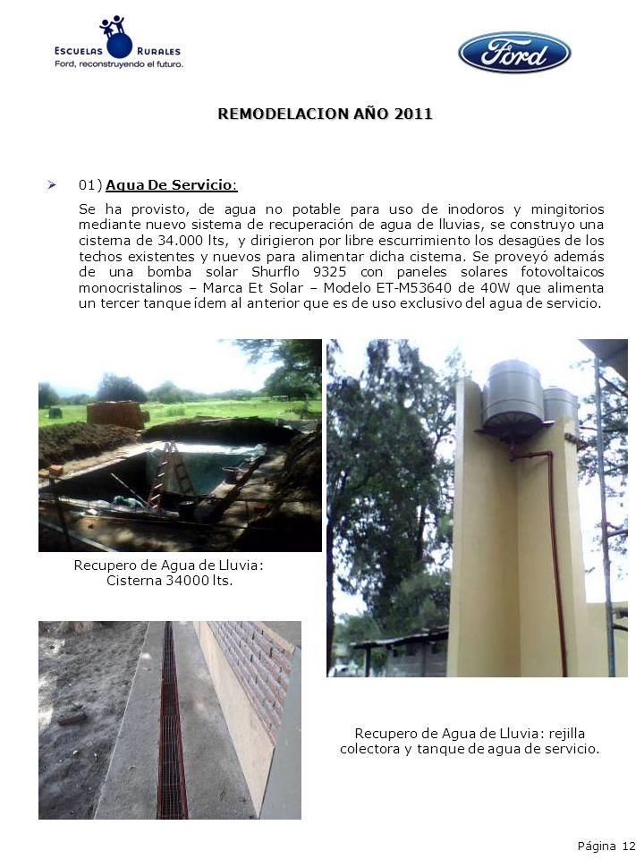 01) Agua De Servicio: Se ha provisto, de agua no potable para uso de inodoros y mingitorios mediante nuevo sistema de recuperación de agua de lluvias,