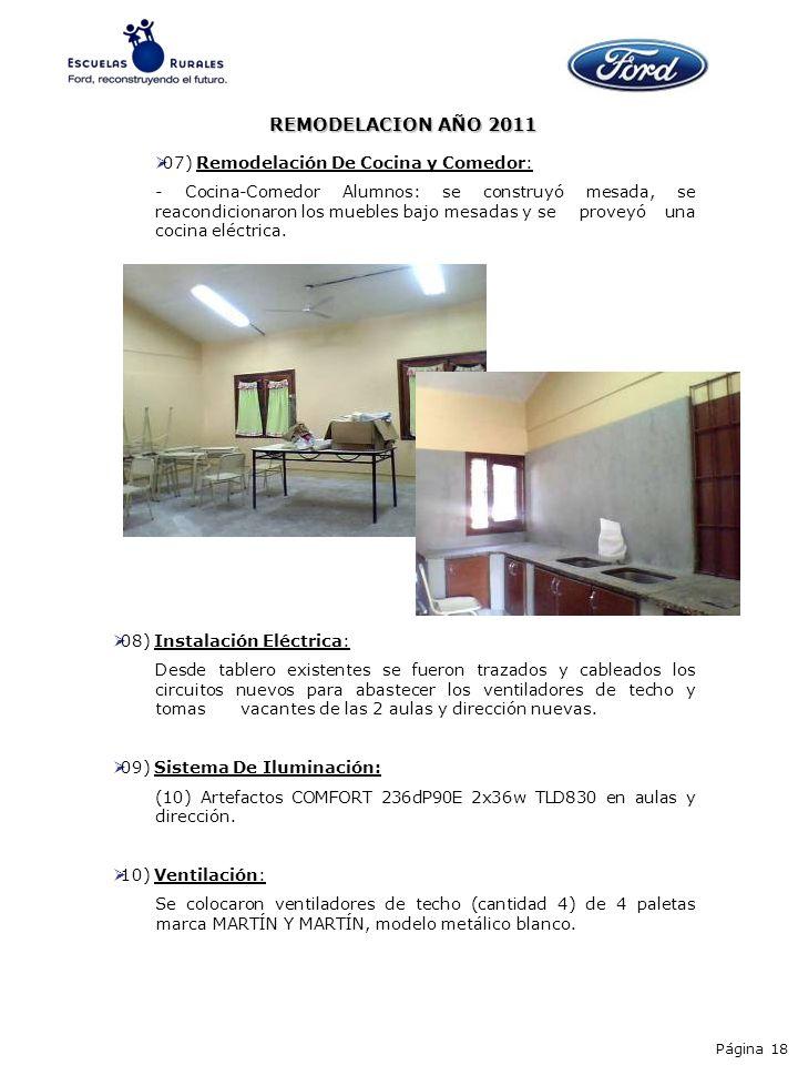 07) Remodelación De Cocina y Comedor: - Cocina-Comedor Alumnos: se construyó mesada, se reacondicionaron los muebles bajo mesadas y se proveyó una coc
