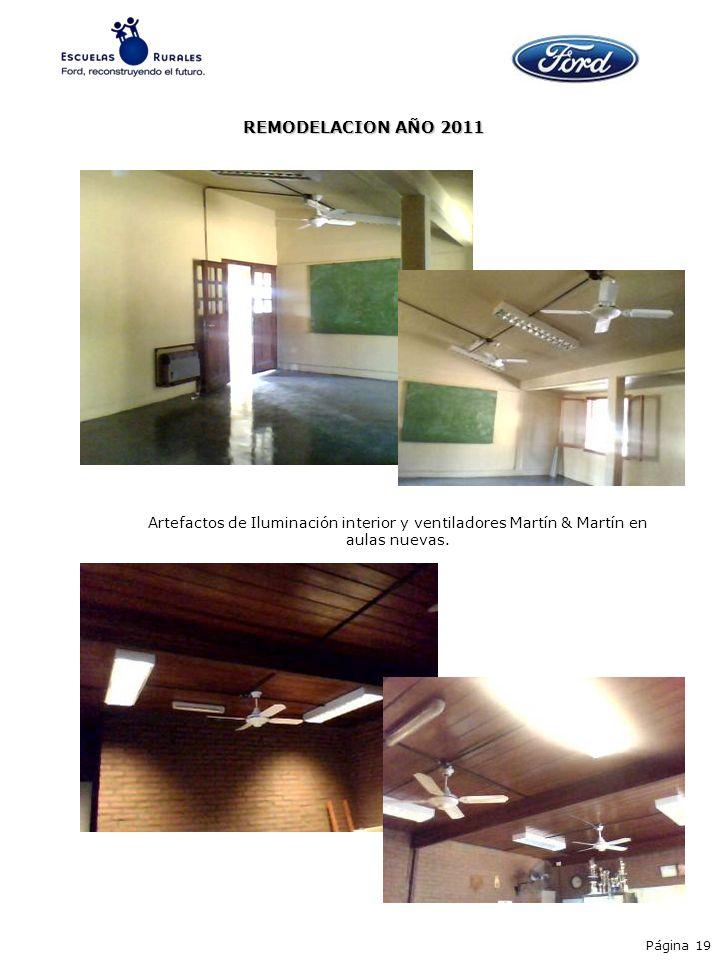 REMODELACION AÑO 2011 Artefactos de Iluminación interior y ventiladores Martín & Martín en aulas nuevas. Página 19