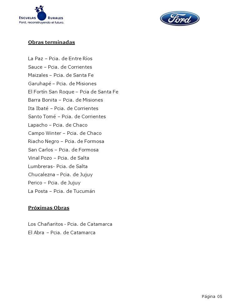 Obras terminadas La Paz – Pcia. de Entre Ríos Sauce – Pcia. de Corrientes Maizales – Pcia. de Santa Fe Garuhapé – Pcia. de Misiones El Fortín San Roqu