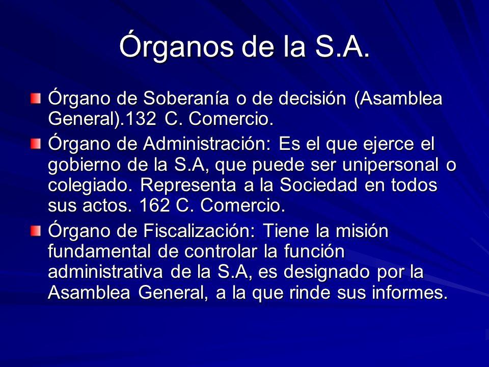 Órganos de la S.A. Órgano de Soberanía o de decisión (Asamblea General).132 C. Comercio. Órgano de Administración: Es el que ejerce el gobierno de la