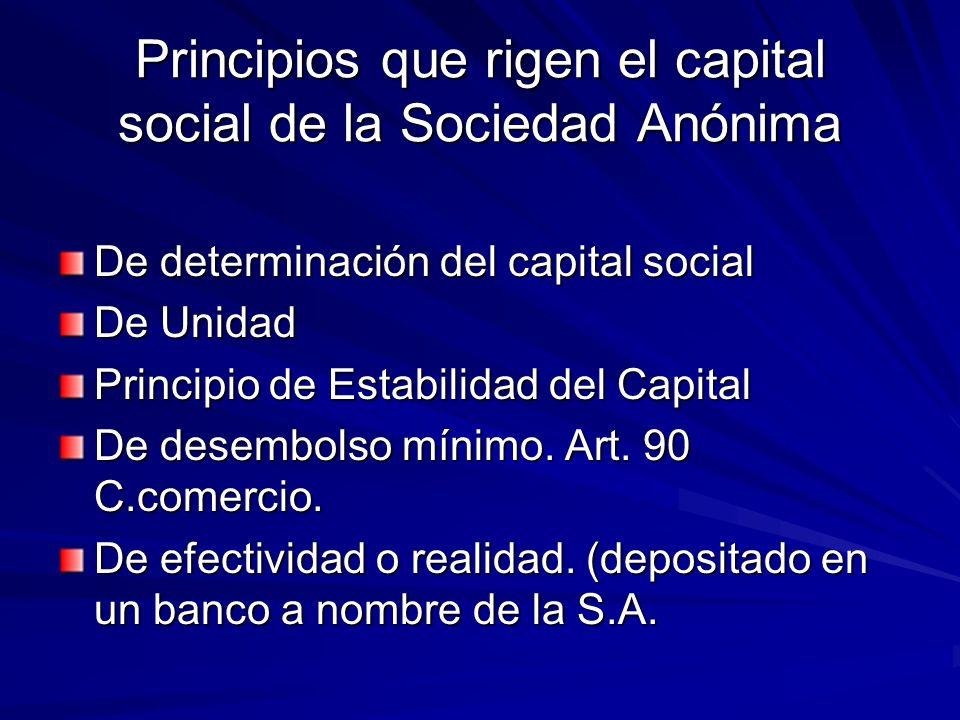 Principios que rigen el capital social de la Sociedad Anónima De determinación del capital social De Unidad Principio de Estabilidad del Capital De de