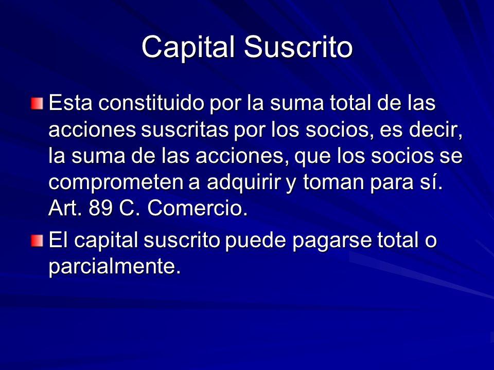 Capital Suscrito Esta constituido por la suma total de las acciones suscritas por los socios, es decir, la suma de las acciones, que los socios se com