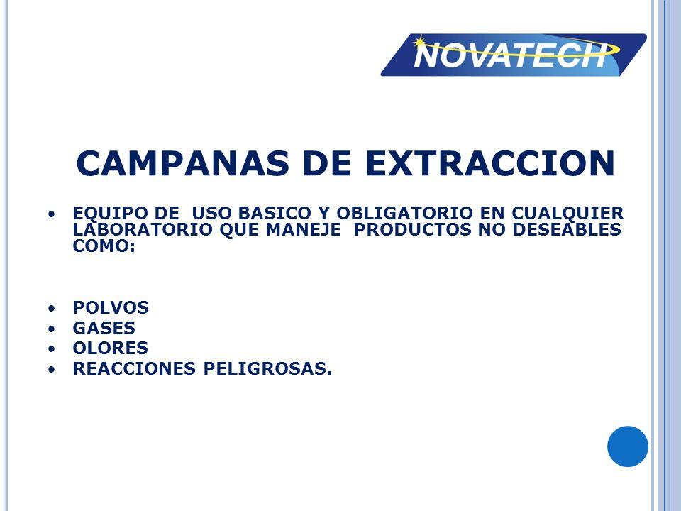 EQUIPOS COMPLEMENTARIOS PARA LA CAMPANA DE EXTRACCION SISTEMA DE LAVADO DE GASES TRAMPA DE CARBON ACTIVADO