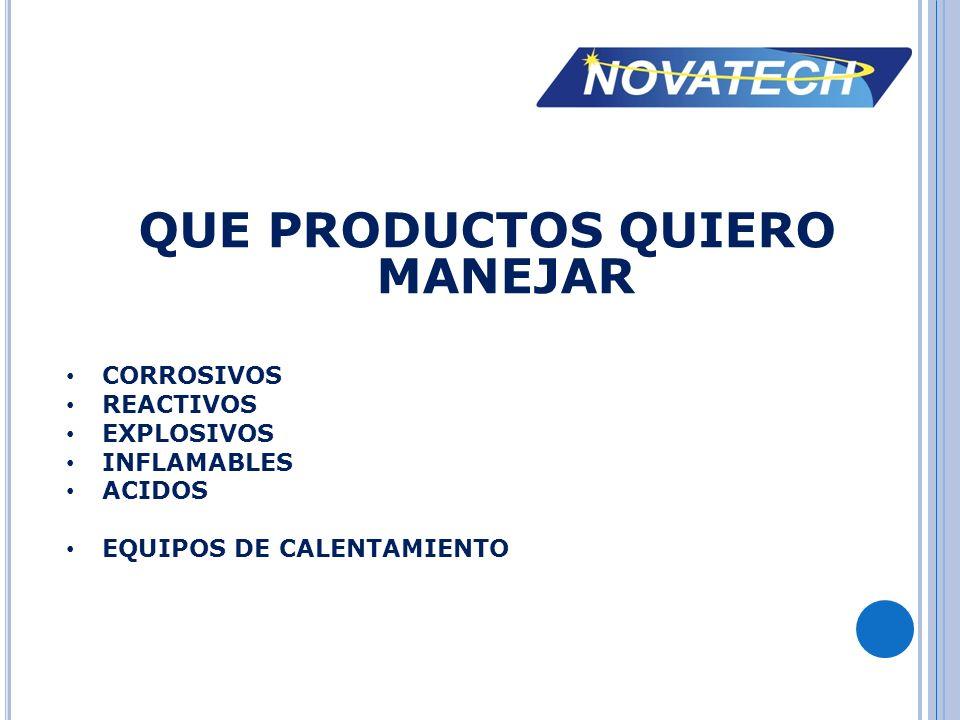 QUE PRODUCTOS QUIERO MANEJAR CORROSIVOS REACTIVOS EXPLOSIVOS INFLAMABLES ACIDOS EQUIPOS DE CALENTAMIENTO