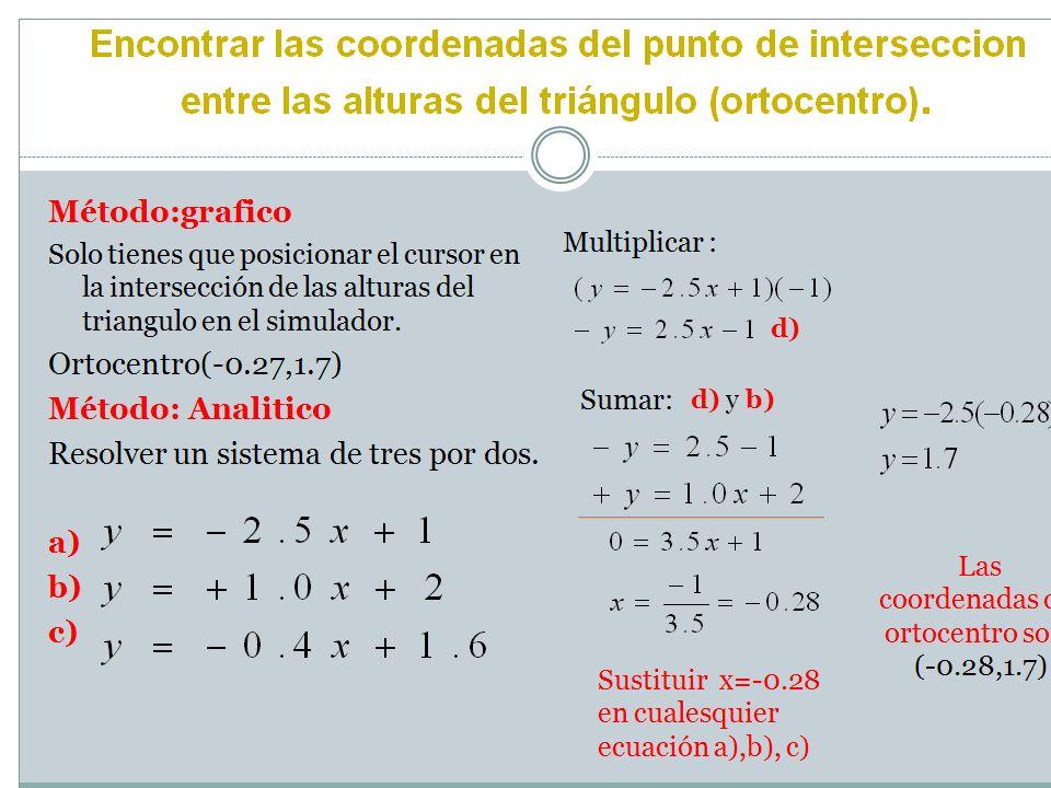 Encontrar las coordenadas del punto de interseccion entre las alturas del triángulo (ortocentro). Método:grafico Solo tienes que posicionar el cursor