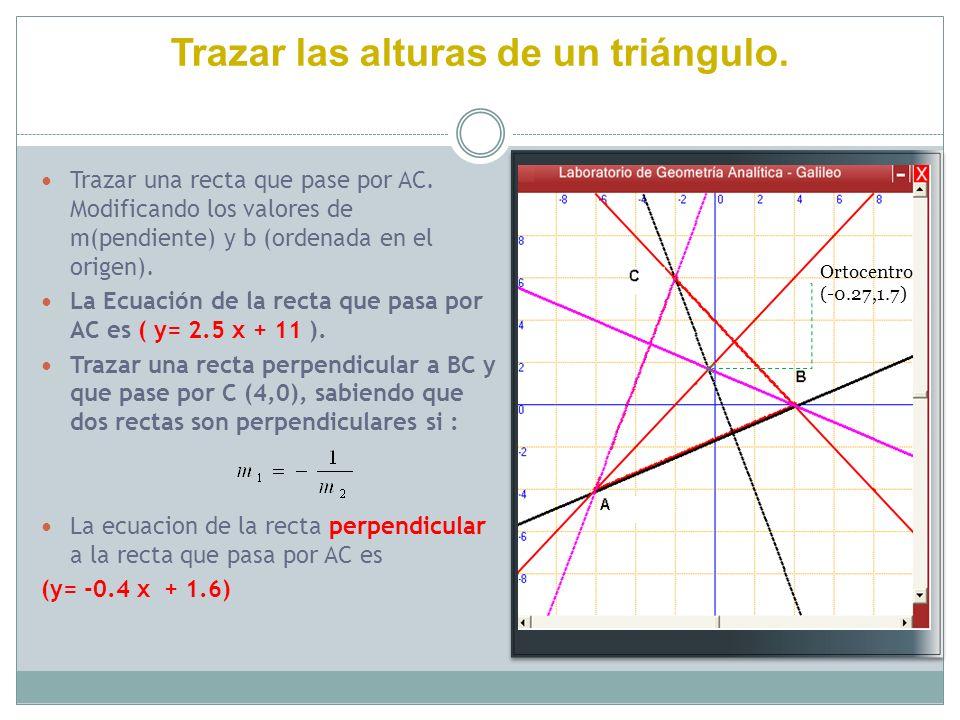 Trazar las alturas de un triángulo. Trazar una recta que pase por AC. Modificando los valores de m(pendiente) y b (ordenada en el origen). La Ecuación